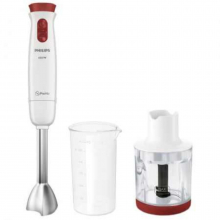 Mixer vertical Philips Daily Collection HR1623/00, 650 W, 2 Viteze + Functie Turbo, 0.5 l, Mini-tocator 0.3 l, Alb/Rosu
