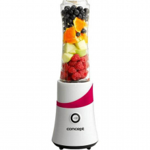 Mini Blender Concept SM-3360, 300 W, Smoothie, 2 recipiente, Alb/Rosu