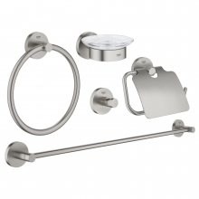 Set accesorii 5 in 1 Grohe Essentials 40344DC1, Crom