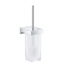 Set perie WC Grohe Selection Cube 40857000, Crom/ Sticla