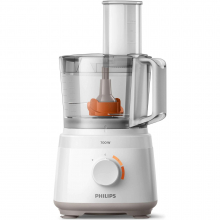 Robot de bucatarie Philips HR7310/00 Daily Collection, 700 W, 2 viteze + puls, bol 2.1 L, dispozitiv de emulsifiere, disc din inox, Alb