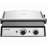 Gratar electric Concept GE2010, 2000 W, placi detasabile din teflon, Inox